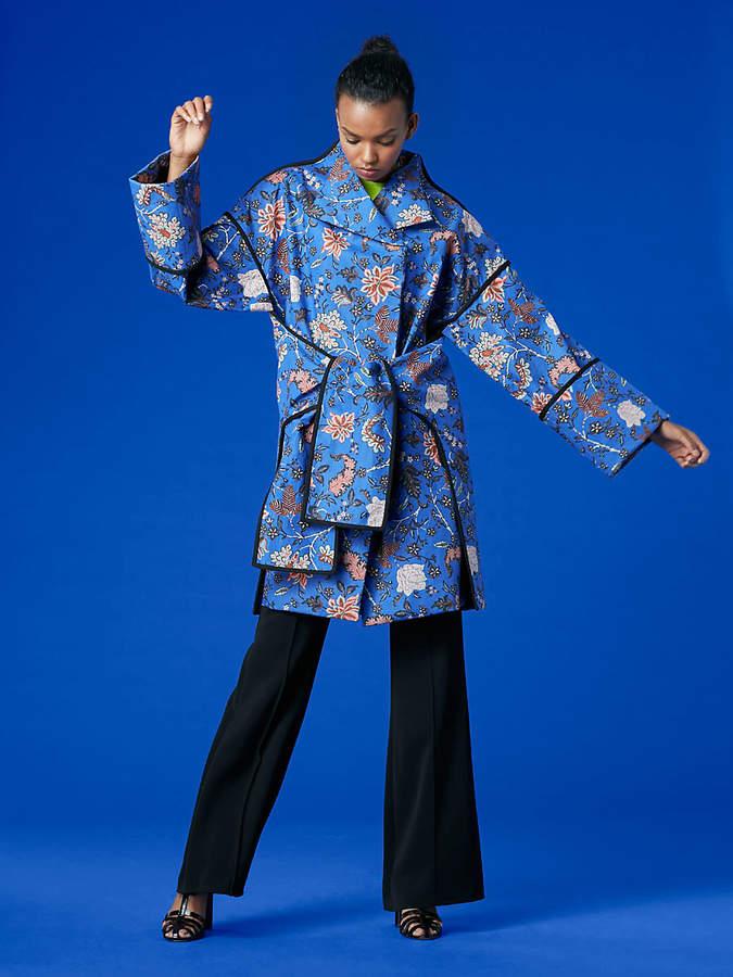 Diane von Furstenberg Long-Sleeve Front Tie Parka