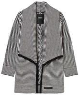 DKNY Black and White Stripe Knit Waterfall Cardigan