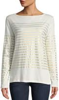 Majestic Paris for Neiman Marcus Metallic-Stripe Cotton-Cashmere Long-Sleeve Top