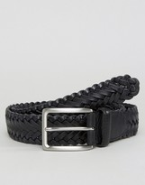 Jack Wills Marwood Plaited Leather Belt Black