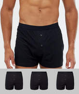 Asos Jersey Boxers In Black 3 Pack