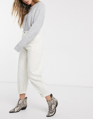 Bershka elasticated waist slouchy pants in white