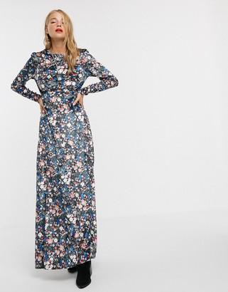 Asos DESIGN long sleeve high neck velvet maxi dress in floral print