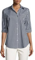Lafayette 148 New York Paget 3/4-Sleeve Button-Front Check Top, Multi, Plus Size