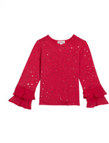 Design History Girls Girl's Long-Sleeve Sequin Top, Size 2-6X