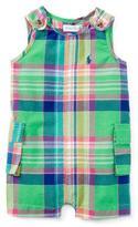 Ralph Lauren Madras Plaid Cotton-Blend Overalls, Green/Pink, Size 3-24 Months