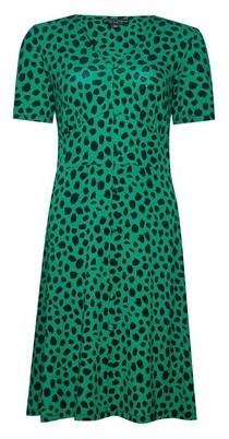 Dorothy Perkins Womens Green Spot Print Button Through Dress, Green
