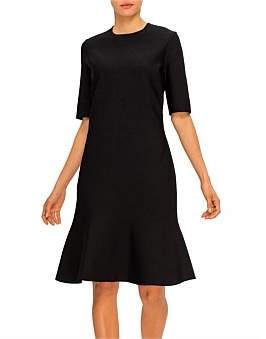 St. John Luxe Sculpture Knit Elbow Sleeve Fit & Flare Dress