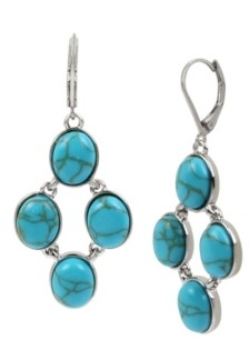 Kenneth Cole New York Silver-Tone Cabochon Statement Drop Earrings