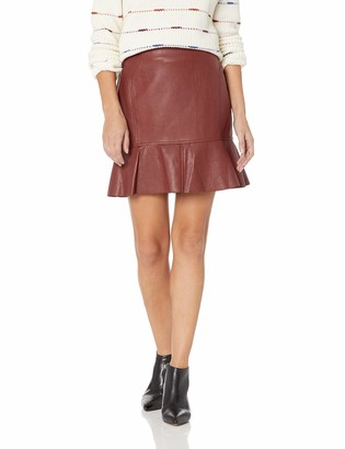 BCBGMAXAZRIA Women's Faux Leather Flounced Skirt