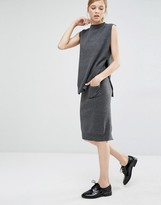 Paisie Pencil Skirt In Knit With Front Pocket And Back Split