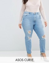 Asos Farleigh High Waist Slim Mom Jeans In Miracle Light Wash With Rips