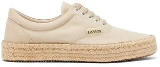 Lanvin Lace-up Canvas Espadrille Trainers - Mens - Beige