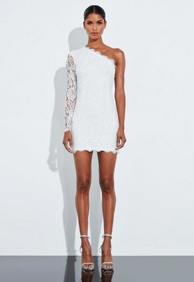 Missguided White One Shoulder Lace Embroidered Mini Dress