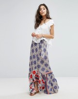 Kiss The Sky Maxi Skirt In Festival Print