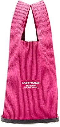 Lastframe - Two Tone Rib-knit Tote Bag - Pink Multi
