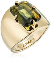 Cole Haan Gold/Khaki Large Emerald Stone Ring, Size 8