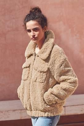 Next Womens Neutral Teddy Borg Western Jacket - Natural
