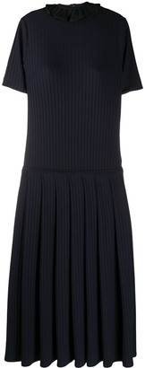 Victoria Victoria Beckham Ruffle Collar Ribbed Knit Dress