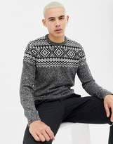 Kiomi knitted jumper in black with pattern