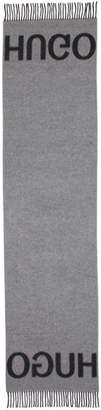 HUGO Grey Wool Mix Scarf