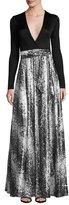 Diane von Furstenberg Aviva Metallic Wrap-Front Maxi Dress
