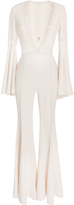 Elie Saab Flared Jumpsuit With Deep V-Neck With Lace Trim