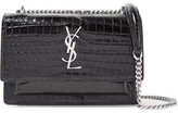 Saint Laurent Sunset Croc-effect Patent-leather Shoulder Bag - Black