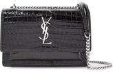 Saint Laurent Sunset Wallet Croc-effect Patent-leather Shoulder Bag - Black