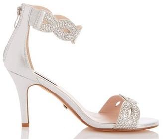 Dorothy Perkins Womens *Quiz Silver Satin Twist Diamante Sandals, Silver