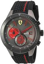Ferrari Men's Quartz Stainless Steel and Silicone Watch, Color:Black (Model: 830341)