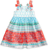Blueberi Boulevard Mixed-Print Lace-Bodice Dress, Baby Girls (0-24 months)
