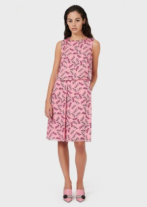 Emporio Armani Chiffon Dress With Eyeglasses Print And Godet Pleats