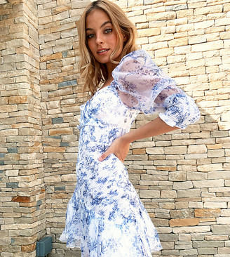 ASOS DESIGN Petite organza shirred mini dress with puff sleeve in floral print