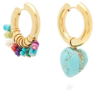 Timeless Pearly Mismatched Turquoise & Gold-plated Hoop Earrings - Blue Multi