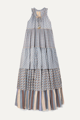 Yvonne S Hippy Tiered Printed Cotton-voile Maxi Dress - Light blue