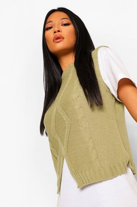 boohoo Petite Cable Knit Singlet Sweater