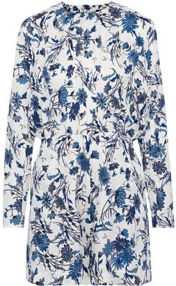 Derek Lam Cutout Floral-print Silk-jacquard Playsuit