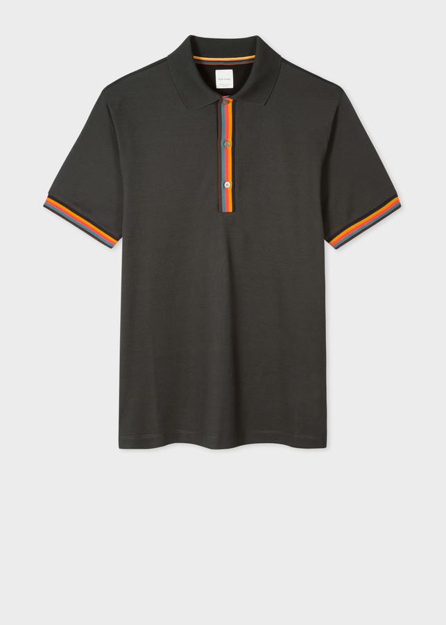 Paul Smith Men's Slim-Fit Dark Green Cotton-Pique Polo Shirt With 'Artist Stripe' Details