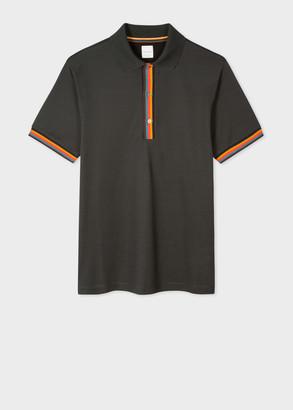 Men's Slim-Fit Dark Green Cotton-Pique Polo Shirt With 'Artist Stripe' Details