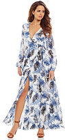 Gianni Bini Rotor Print V-Neck Wrap Dress