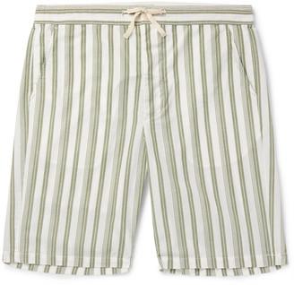 Oliver Spencer Loungewear - Striped Organic Cotton Drawstring Pyjama Shorts - Men - Green