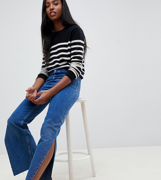 Asos DESIGN Tall Recycled Florence authentic straight leg jeans with side splits in rich stonewash blue