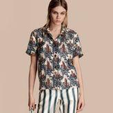 Burberry Short-sleeved Castle Print Silk Pyjama-style Shirt
