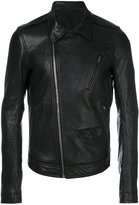 Rick Owens off-center zip fastening jacket - men - Cotton/Leather/Cupro - 48
