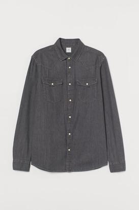H&M Cotton Denim Shirt - Gray