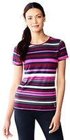 Lands' End Women's Active Short Sleeve T-shirt-Iron Heather/Black