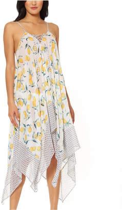 Jessica Simpson Nice Lemons Printed Lace-Up Swim Cover-Up Dress Women Swimsuit