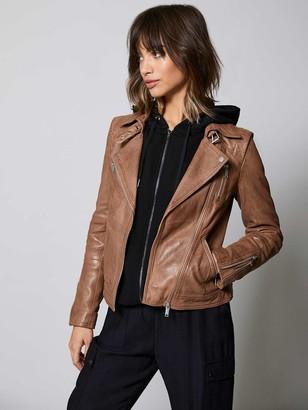 Mint Velvet Zip Leather Biker Jacket - Tan