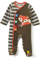 Taggies Olive & White Stripe Hedgehog Fox Footie - Infant